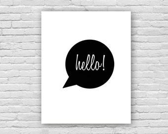 Hello! Script Art Print, English Art Print, Children's Art, Nursery Art Poster, Instant Download