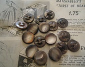 """Mother of Pearl vintage buttons antique 15 DYED MOP self shanking 11/16"""" brown"""
