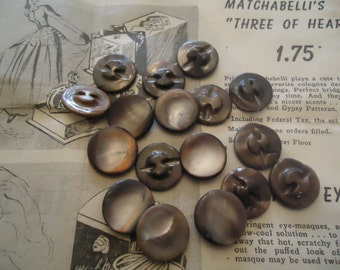 "Mother of Pearl vintage buttons antique 15 DYED MOP self shanking 11/16"" brown"