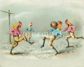Funny Funky Chickens Playing Ball Anthromorphic Victorian Post Card Ephemera Vintage Scrapbook Instant Digital Download Printable