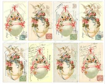 Easter Egg French Postmark Post Card Vintage Instant Digital Download Printable Altered Art