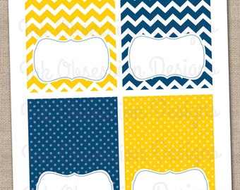 Yellow and Navy Blue Buffet Card Labels Instant Download Printable PDF for Food & Beverages with Chevron Stripes and Polka Dots