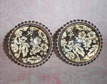 Cottage Chic Vintage Brown Cream Floral Distressed Glass Drawer Knob Pull Knobs Set of 2