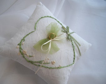 Ring Pillow Heart Handmade Silk Embroidery by handcraftusa