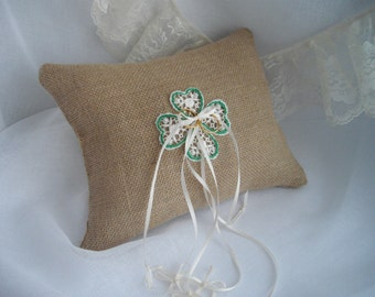 Celtic Heart Knot Irish Wedding Ring Bearer Pillow Burlap and Lace Kelly Green Handmade by handcraftusa