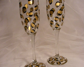 leopard print champagne flutes