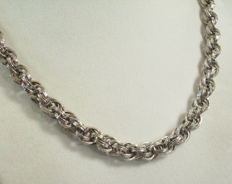 Vintage 60s Monet Silver Rope Chain Necklace Frosty