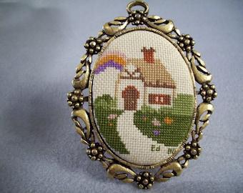 Vintage 80s Tiny Framed Cross Stitch Cottage Scene Home House Oval Metal Frame Signed Little