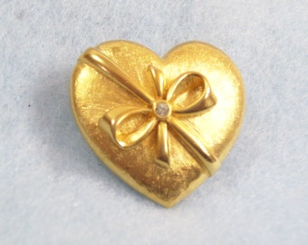 Vintage 80s Brushed Gold Heart Brooch Pin Ribbon Around My Heart Rhinestone