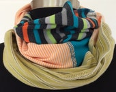 T-Shirt Scarf in Green, turquoise, orange, gray Infinity Eternity recycled Repurposed