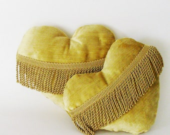 Heart of Gold Pillow / High End Vintage Yellow Gold Upholstery Velvet / Organic Lavender Filled / Unique Gift Under 35