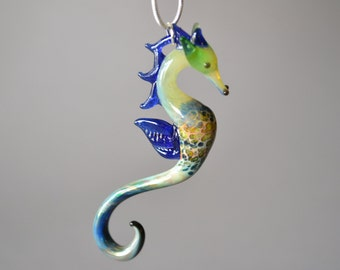 Blue Pearl Sea Horse Pendant gift for her