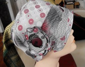 CUSTOM ORDER for Linda - silvery snopwflakes- a vintage necktie cloche