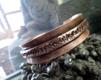Folded and Textured Copper Cuff