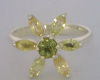 Demantoid Garnet and Yellow Sapphire Handmade Silver Ladies Flower Ring size 7