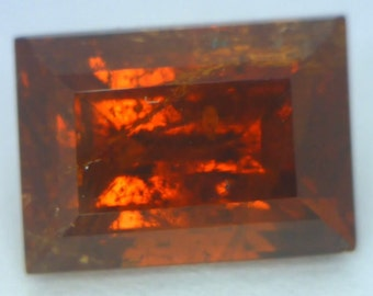 Red Orange Almandine Garnet 9.7x7x5.5mm Rectangle SI1 Gemstone 4.23 carat