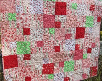 Pink, Red and Mint Baby Girl/Toddler Quilt - Scrappy - Designer Prints