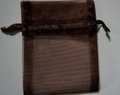 60 Brown Organza Bags - 3 x 4""