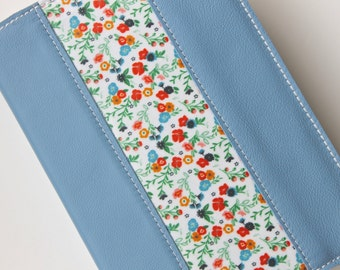Sky Blue Leather Bible Cover - Handmade bible cover - Vintage Floral Accent - Leather hobonichi cover- journal cover- book cover- Custom fit