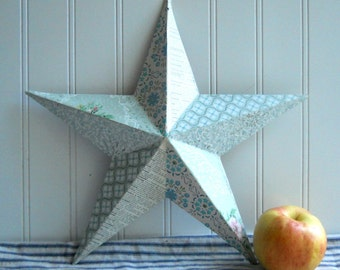 Vintage wallpaper star metal star barn star French text Blue for wedding or home decor Cottage Chic Farmhouse