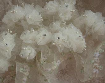 36 pc IVORY Wired Organza Rose Rhinestone Beaded Flower Applique Bridal Wedding Bouquet