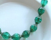 BEADS Czech 12mm x 9mm Faceted Glass Beads TEAL Green Oval Picasso Edge Finish (8)