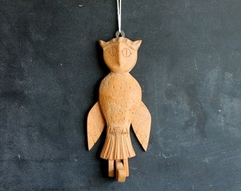 Vintage Handmade Folk Art Owl Puppet, Articulated Rustic Primitive Wooden Carved Bird