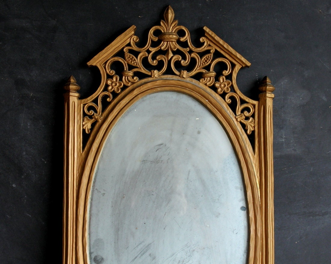 Large Vintage Fairy Tale Sixties Syroco Gold Gilt Mirror