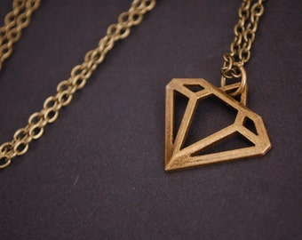 bronze scene diamond necklace
