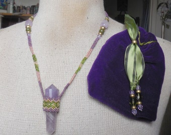 Beaded Double Terminated Amethyst Crystal Vogel Point Wand Necklace with Unakite Semiprecious Stone Gemstone Beads in Purple Green Gold