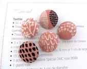 """Small Pink White Black Tribal Ethnic Dots Leafs Floral Fabric Covered Buttons, Small Floral Magnets, Flat Back 0.8"""" 5's"""