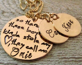 Grandma Jewelry - Personalized Necklace - So There's This Boy Omie Necklace - Personalized Jewelry - hand stamped necklace