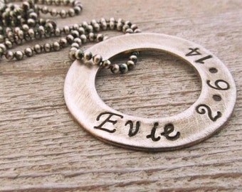 Men's Washer Necklace - Personalized Necklace - Valentine Gift  - Hand Stamped Jewelry - Rugged Personalized Men's Necklace