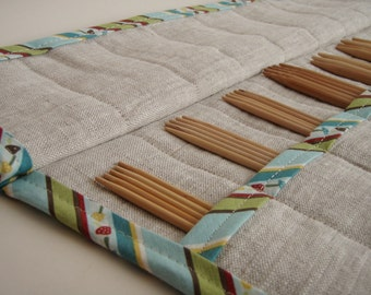Knitting Needle Case - DPN Holder - Double Point Knitting Needle Organizer - Knitting Needle Roll - Gift for Knitter