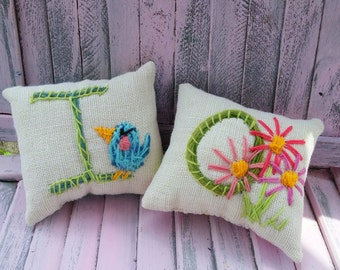 Gift Idea  Hand Embroidered Monogram Mini Pillow with Choice of Single Motif Simple Style