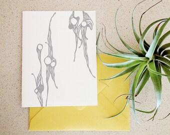 SALE! Abstract Ocean Illustration letterpress notecard