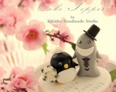 Penguins and Shark wedding cake topper---k618
