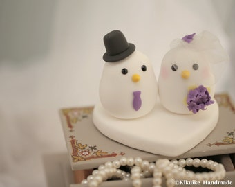 birds bride and groom wedding cake topper (K354)