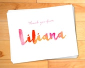 Girl thank you cards, Personalized Thank You Watercolor Thank you Cards, Script, Kids Thank You Cards