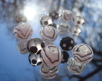 Black and White Swirls and Dots Glass Bead Set of 11