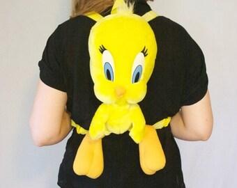 90s Tweety Bird Mini Backpack / Looney Tunes Cartoon Raver Club Kid Kawaii Soft Grunge Bag Back Pack