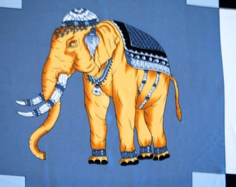 Luxurious vintage 80s silk large scarf with white, black, grey square background and figure of the elephants on it.