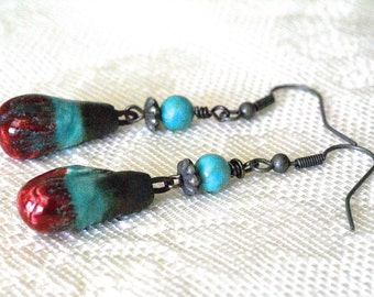 Summer Sale Southwest Earrings, Turquoise earrings, Red earrings, Rustic Earrings, Turquoise and Red Earrings, Handmade Boho Earrings