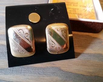 Vintage Krementz 14kt Gold Overlay Cufflinks and Tie Tack in Original Box, Vintage Mens Accessories
