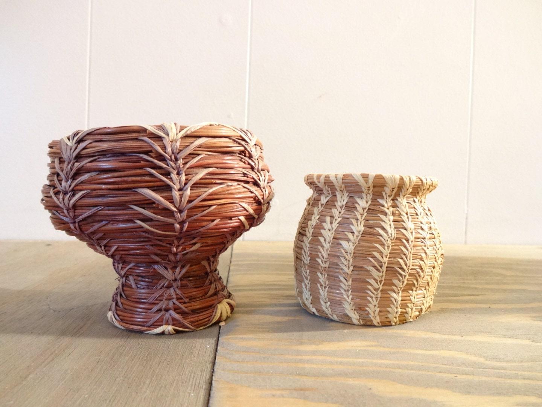 Handmade Pine Needle Baskets : Vintage sweet pine needle baskets two handmade