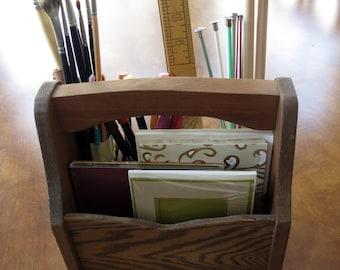 Vintage Tote Wood Utensils Art Craft Office