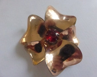 Vintage Sterling with Rose Gold Overlay Pansy Brooch from Sterling by Jordan
