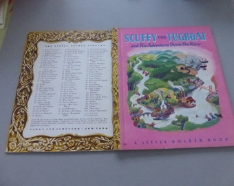 Vintage Little Golden Book Scuffy the Tugboat and His Adventures Down the River