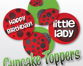 DIY Little Ladybug - Party Rounds - Cupcake Toppers - Printable - Instant Download