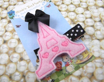 Felt Eiffel Tower Clip-Baby Hair Clip- Pink Eiffel Tower Hair Clip-Toddler HairClip-Paris Felt Hair Clip-Feltie Hair Clip